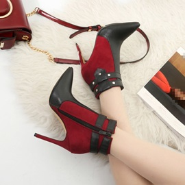 Color Block Side Zipper Pointed Toe Banquet Boots