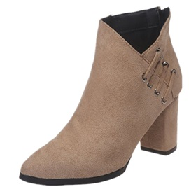 Plain Pointed Toe Back Zip PU Boots