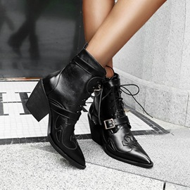 Lace-Up Front Patchwork Pointed Toe Buckle Boots