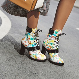 Lace-Up Front Patchwork Round Toe Casual Boots