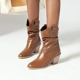 Slip-On Plain Pointed Toe Casual Boots