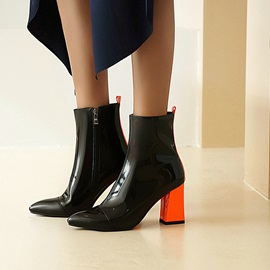 Pointed Toe Plain Side Zipper Casual Boots