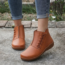 Wedge Heel Plain Round Toe Casual Boots