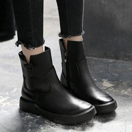 Plain Side Zipper Round Toe England Boots