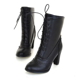 Plain Lace-Up Front Round Toe Short Floss Boots