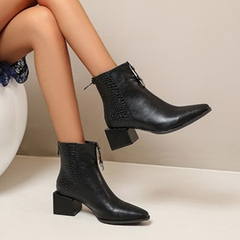 Back Zip Pointed Toe Block Heel Zipper Boots