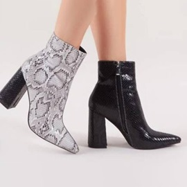 Side Zipper Pointed Toe Chunky Heel Serpentine Boots