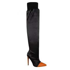 Pointed Toe Stiletto Heel Patchwork Casual Boots