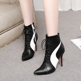 Color Block Pointed Toe Lace-Up Front PU Boots