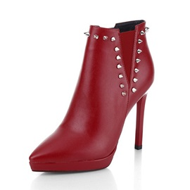 Stiletto Heel Plain Side Zipper PU Boots