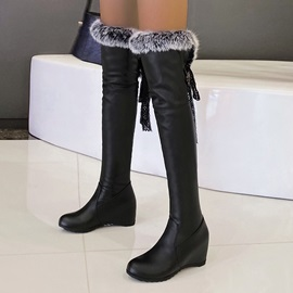 Hidden Elevator Heel Slip-On Round Toe Short Floss Boots