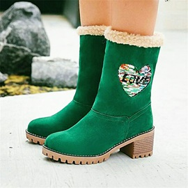 Block Heel Patchwork Round Toe Short Floss Boots