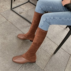 Back Zip Square Toe Patchwork Thread Boots