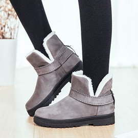 Flat With Plain Slip-On Plush Boots