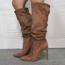Stiletto Heel Slip-On Plain Short Floss Boots