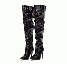 Plain Stiletto Heel Side Zipper PU Boots