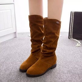 Round Toe Slip-On Block Heel Thread Boots