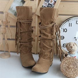 Plain Round Toe Slip-On Fringe Boots