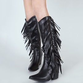 Side Zipper Plain Pointed Toe Thread Boots