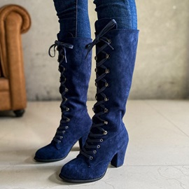 Round Toe Plain Lace-Up Front Sexy Boots