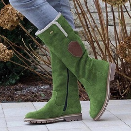 Patchwork Side Zipper Round Toe Thread Boots