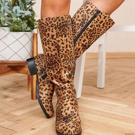 Leopard Round Toe Side Zipper Cotton Boots