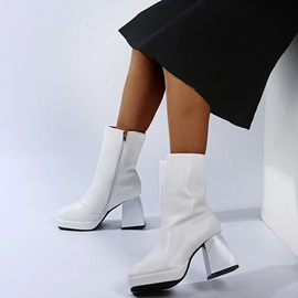 Side Zipper Plain Square Toe Platform Boots