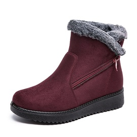 Flat With Plain Side Zipper Plush Boots