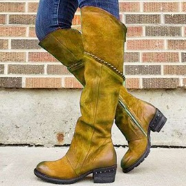 Plain Round Toe Side Zipper Western Boots