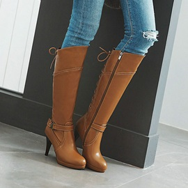 Plain Round Toe Stiletto Heel Cross Strap Boots