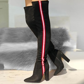 Side Zipper Color Block Chunky Heel Thread Boots