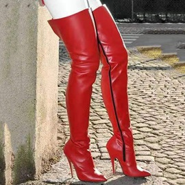 Side Zipper Plain Stiletto Heel Western Boots