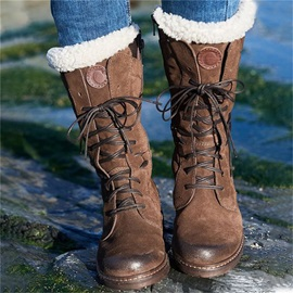 Lace-Up Front Block Heel Round Toe Thread Boots