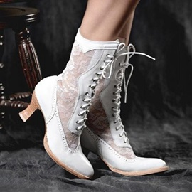 Patchwork Lace-Up Front Pointed Toe PU Boots