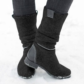 Slip-On Patchwork Block Heel Thread Boots