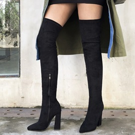 Side Zipper Plain Pointed Toe England Boots