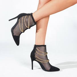 Stiletto Heel Pointed Toe Back Zip PU Boots