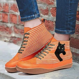 Color Block Flat With Round Toe Korean Boots