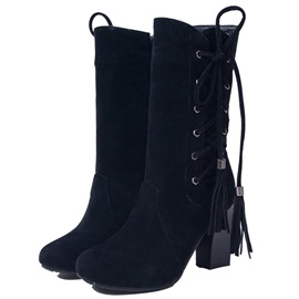 Plain Chunky Heel Round Toe Banquet Boots