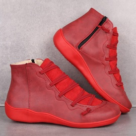 Color Block Side Zipper Round Toe Professional Boots