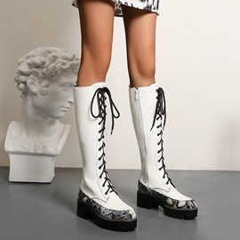 Side Zipper Color Block Round Toe Lace-Up Boots
