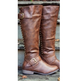 Back Zip Plain Round Toe Buckle Boots