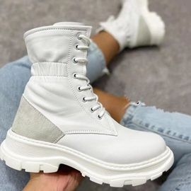 Lace-Up Front Block Heel Plain Thread Boots