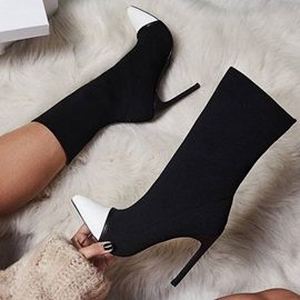 Pointed Toe Slip-On Color Block PU Boots