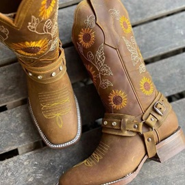 Floral Square Toe Block Heel PU Boots