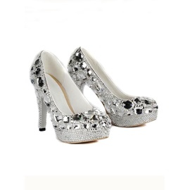 Stylish Platform Stiletto Heels Closed-toe Prom/Evening Shoes with Rhinestones