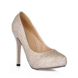 Shining Golden Upper Stiletto Heels Closed Toe Prom/Evening Shoes
