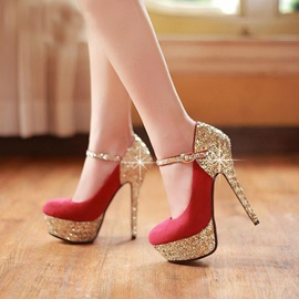 Amazing Wome Red Glietter Heels Pumps