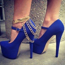 Attractive Blue Platform Pointed Toe Back Chains Stiletto Heel Spring Pumps