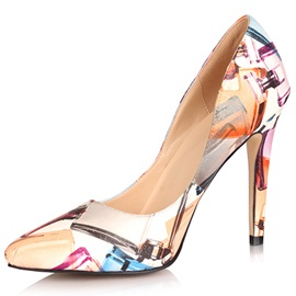 Point Toe Stiletto Heel Print Pumps
